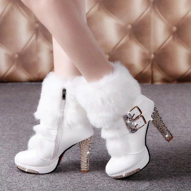 Winter Fur Boots Women's Plush Warm Platform Ankle Boots